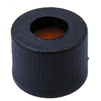 8mm Black Screw Cap, Short Thread, Polypropylene.  SC8181