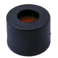 8mm Black Screw Cap, Short Thread, Polypropylene.  SC8181