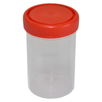 200ml Leak-Proof Sample Container, Red Screw Cap, Sterile.  4020-2306-13