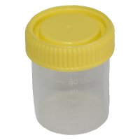 60ml Leak Proof Sample Containers with Yellow Screw Cap, No Write-On Label.   4020-2806-17