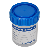 60~70ml Leak Proof Sample Containers, Blue Screw Cap, STERILE, with write-on label.  4020-2845-02L