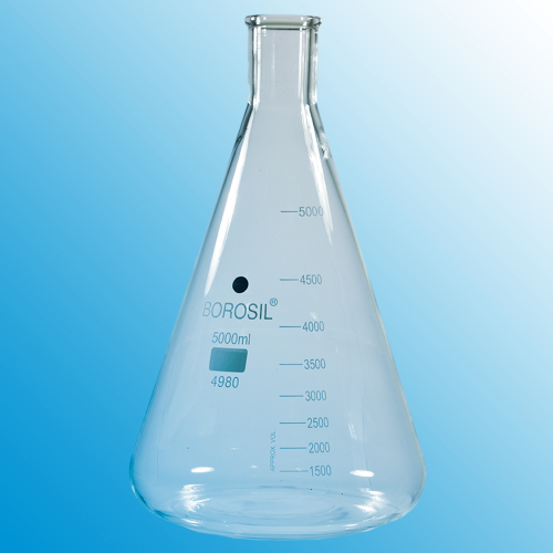 5000ml (5 Litre) Erlenmeyer Flask With Beaded Rim
