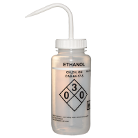 500ml Wash Bottle, Wide Mouth, Safety Labelled Ethanol